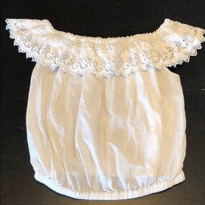 White Off Shoulder Lace Top Crop Top